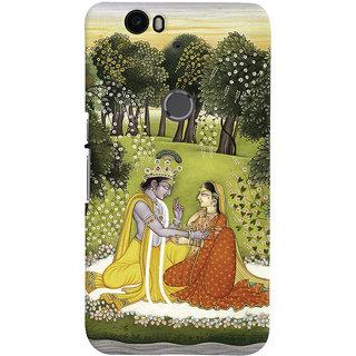 Oyehoye Huawei Google Nexus 6P Mobile Phone Back Cover With Vintage Radhe Krishna Art - Durable Matte Finish Hard Plastic Slim Case