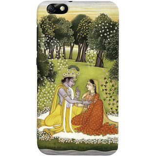 Oyehoye Huawei Honor 4X / Dual Sim / Glory Play Mobile Phone Back Cover With Vintage Radhe Krishna Art - Durable Matte Finish Hard Plastic Slim Case