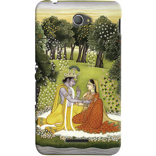 Oyehoye Sony Xperia E4 Mobile Phone Back Cover With Vintage Radhe Krishna Art - Durable Matte Finish Hard Plastic Slim Case
