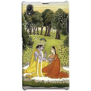 Oyehoye Sony Xperia Z1 Mobile Phone Back Cover With Vintage Radhe Krishna Art - Durable Matte Finish Hard Plastic Slim Case