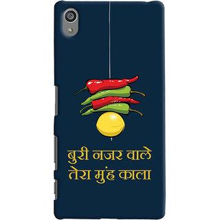 Oyehoye Sony Xperia Z5 Plus/ Z5 Premium Mobile Phone Back Cover With Buri Nazar Wale Tera Muh Kala Quirky - Durable Matte Finish Hard Plastic Slim Case