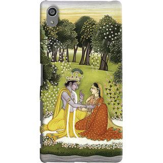 Oyehoye Sony Xperia Z5 Plus/ Z5 Premium Mobile Phone Back Cover With Vintage Radhe Krishna Art - Durable Matte Finish Hard Plastic Slim Case