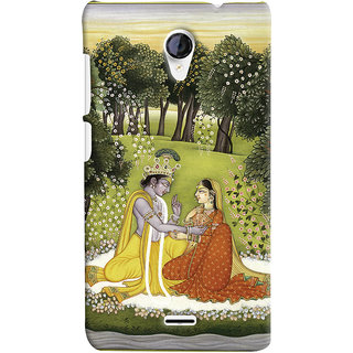 Oyehoye Micromax Unite 2 A106 Mobile Phone Back Cover With Vintage Radhe Krishna Art - Durable Matte Finish Hard Plastic Slim Case