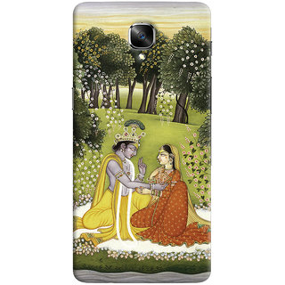 Oyehoye OnePlus 3 Mobile Phone Back Cover With Vintage Radhe Krishna Art - Durable Matte Finish Hard Plastic Slim Case