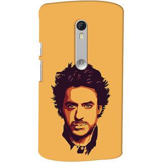 Oyehoye Motorola Moto X Style Mobile Phone Back Cover With Robert Downey Jr. - Durable Matte Finish Hard Plastic Slim Case