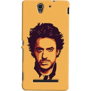 Oyehoye Sony Xperia C3 / Dual Sim Mobile Phone Back Cover With Robert Downey Jr. - Durable Matte Finish Hard Plastic Slim Case