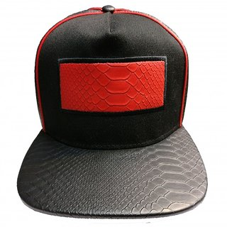 SNAP BACK LEATHER LIKE PATCH BLACK-RED