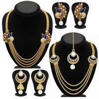 Sukkhi Gold Plated Gold Allot Gold Alloy Bridal Combo of 2 Necklace & 2 Pair of Earring & 1 Mangtikka For Women