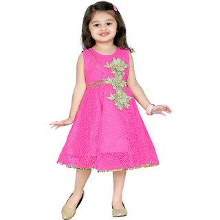 Aarika Pink Girls Net Empire Waist Frock