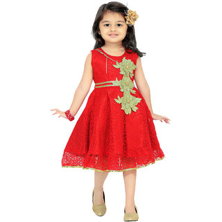 Aarika Red Girls Net Empire Waist Dress