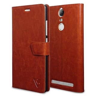 Ceego Flip Cover for Lenovo Vibe K5 Note Ultra Compact with Magnetic Lock - XpressGo Series - Lenovo K5 Note Flip Case (Vintage Brown)