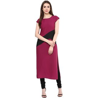 IVES Straight Purple Crepe Regular Solid Casual Calf Long Kurti