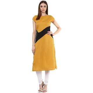 IVES Straight Mustard Crepe Regular Solid Casual Calf Long Kurti