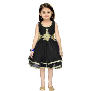 Aarika Black Girls Net Empire Waist Frock
