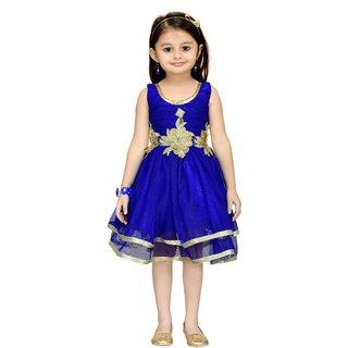 Aarika Blue Girls Net Empire Waist Frock