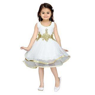 Aarika Pink Girls Net Empire Waist Frock