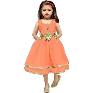 Mid Age Orange Girls Net Empire Waist Dress