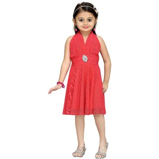 Aarika Girls Peach Layered Dress