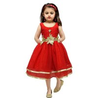 Aarika Red Girls Net Empire Waist Frock