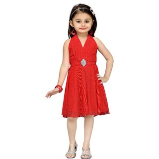 Mid Age Girls Red Layered Dress