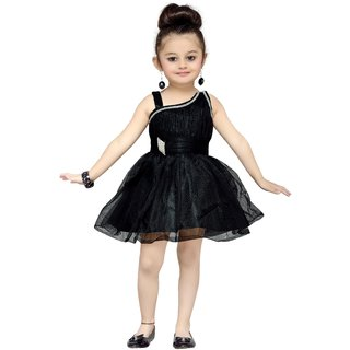 Mid Age Girls Black Party Frock