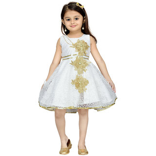 Aarika Girls Cream Party Frock