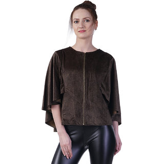 Cashewnut Women Basic Solid Velved Pancho