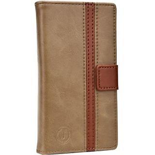 Jojo Wallet Case Cover for Jivi JSP Q56         (Light Brown Dark Brown)