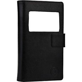 Jojo Flip Cover for Intex Aqua Eco         (Black)