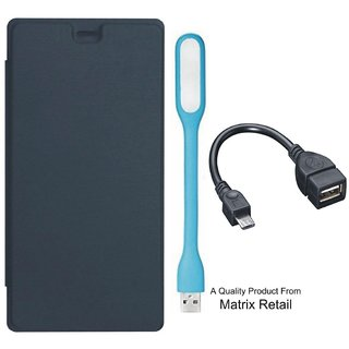 Matrix Flip Cover for Micromax Canvas Mega E353 with LED Light and OTG Cable