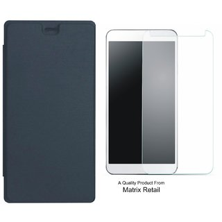 Matrix Flip Cover for Micromax Canvas Selfie 3 Q348 with Tempered Glass Screen Protector