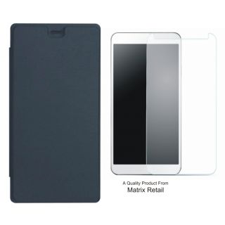 Matrix Flip Cover for Yu Yunique YU4711 with Tempered Glass Screen Protector