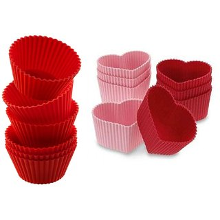 COMBO OF SILICONE HEART SHAPE AND ROUND SHAPE BAKEWARE CAKE MUFFINS TART AND CUP CAKE MOULDS - SET OF 6PCS