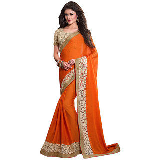 SuratTex Orange Chiffon Printed Saree With Blouse