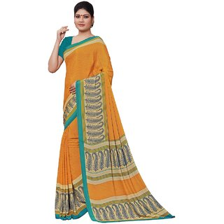 SuratTex Beige Crepe Floral Print Saree With Blouse