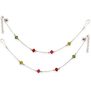 Pair Of Sparkling Silver Alloy Silver Plated Anklets For Women