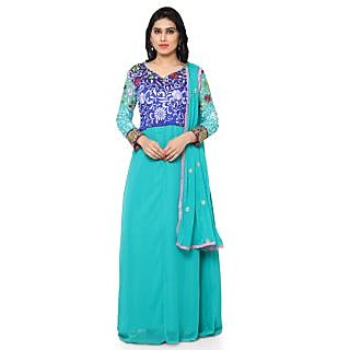 Aaina Blue Georgette Semistiched Embroidered Suit(SB-3252)