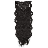 Majik Curly/ Wavy 7 Pcs Hair Extensions Feels Like Real Hair (Free 6 Extensions Clips) Hair Accessories (Black)