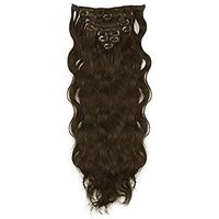 Majik Curly/ Wavy 7 Pcs Hair Extensions Feels Like Real Hair (Free 6 Extensions Clips) Hair Accessories (Medium Brown)