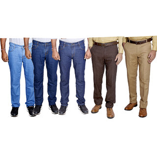 IndiWeaves Combo Pack Offer 3 Slim Fit Denim Jeans With 2 Formal Trouser (Pack of 5)