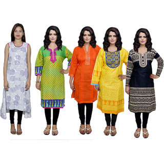 IndiWeaves Women's Combo Pack Offer (Set of 5 Printed Stitched Kurti)