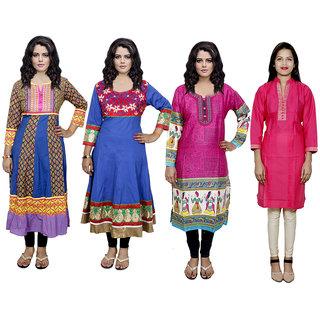 IndiWeaves Women's Combo Pack Offer (Set of 4 Printed Stitched Kurti)