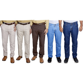 IndiWeaves Combo Pack Offer 2 Slim Fit Denim Jeans With 3 Formal Trouser (Pack of 5)