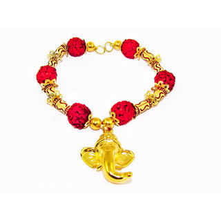 Factorywala Lord Ganesha Charm Glossy Shine Gold Plated  Rudraksh Bracelet/Band For Mens/Boys