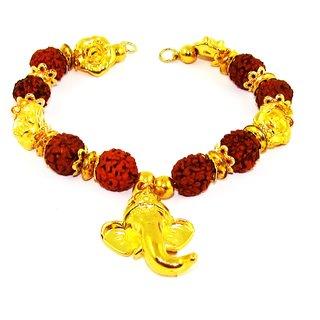 Factorywala Stylish Lord Ganesha Rudraksh Beads Bracelet for Men/Boy