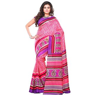 Biyu Designer Printed Bhagalpuri Silk Multicolour Saree With Blouse Piece