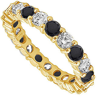 Lovebrightjewelry In Vogue 14K Yellow Gold Black & White Diamond Eternity Band