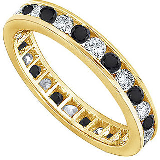 Lovebrightjewelry Stylish Black & White Diamond Eternity Band 14K Yellow Gold
