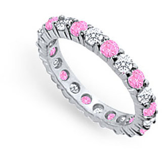 Lovebrightjewelry Pretty Pink Sapphire & Diamond Eternity Band Platinum 2.00 Ct