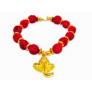 Factorywala Lord Ganesha Charm Glossy Shine Gold Plated  Rudraksh Bracelet/Band For Womens/Girls
